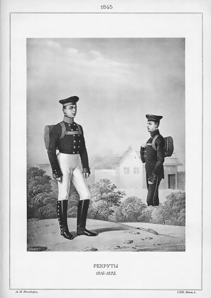 Recruits, 1816-1825. / Source: Aleksandr Viskovatov