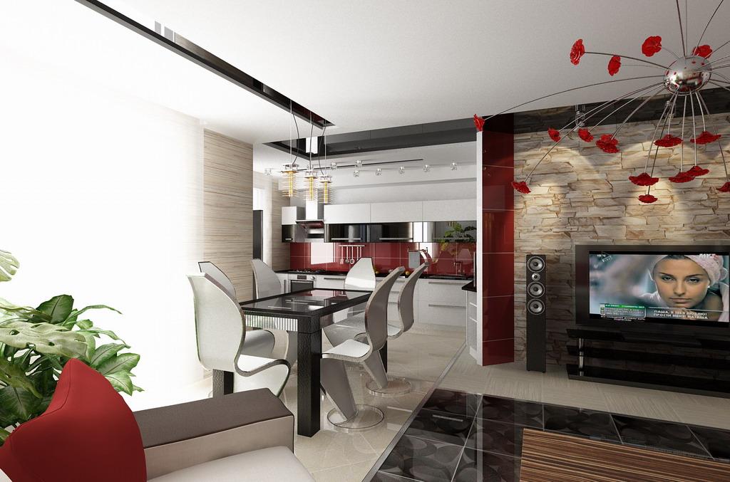 Современные интерьеры кухни-гостиной